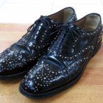 豊中 庄内 靴修理 チャーチ レディース ウイングチップ スタッズ シューズ ビブラム ハーフソール
