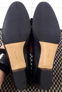 靴の修理サルヴァトーレフェラガモの婦人靴の滑り止め人気のビブラムハーフソール