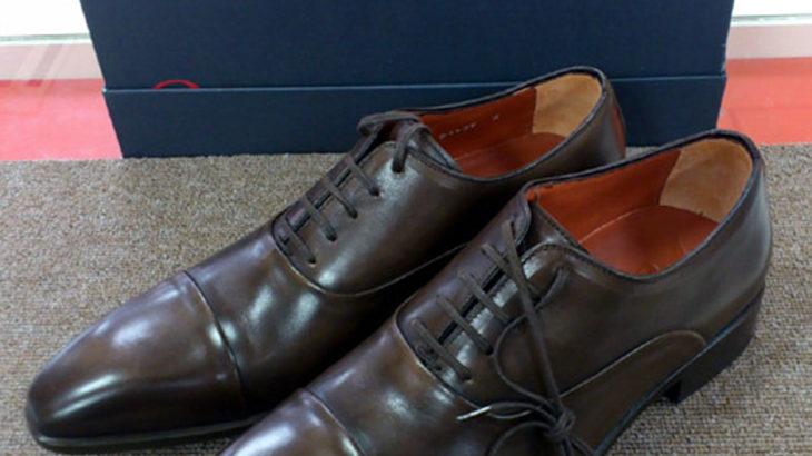 新品箱入り紳士靴の半張りハーフソールの修理