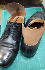 靴の修理 すべり革 腰裏