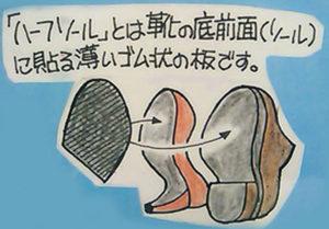 婦人靴 カカトの修理 ハーフソール